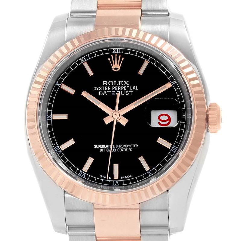 Rolex Datejust 36 Black Dial Steel EveRose Gold Watch 116231 Box Card SwissWatchExpo