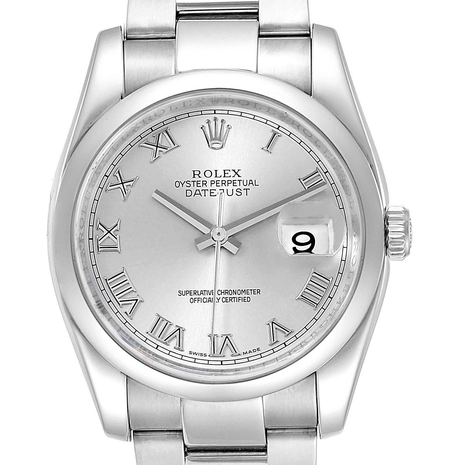 Rolex Datejust 36mm Silver Oyster Bracelet Steel Mens 116200