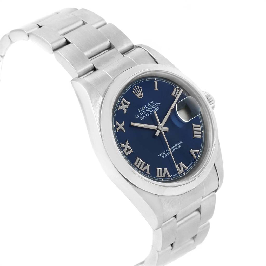 19356 Rolex Datejust 36 Blue Roman Dial Domed Bezel Steel Mens Watch 16200 SwissWatchExpo