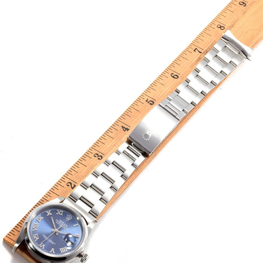 Rolex Datejust 36 Blue Roman Dial Domed Bezel Steel Mens Watch 16200 SwissWatchExpo