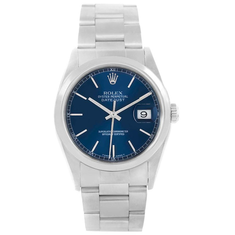 Rolex Datejust 36 Blue Dial Oyster Bracelet Steel Mens Watch 16200 SwissWatchExpo