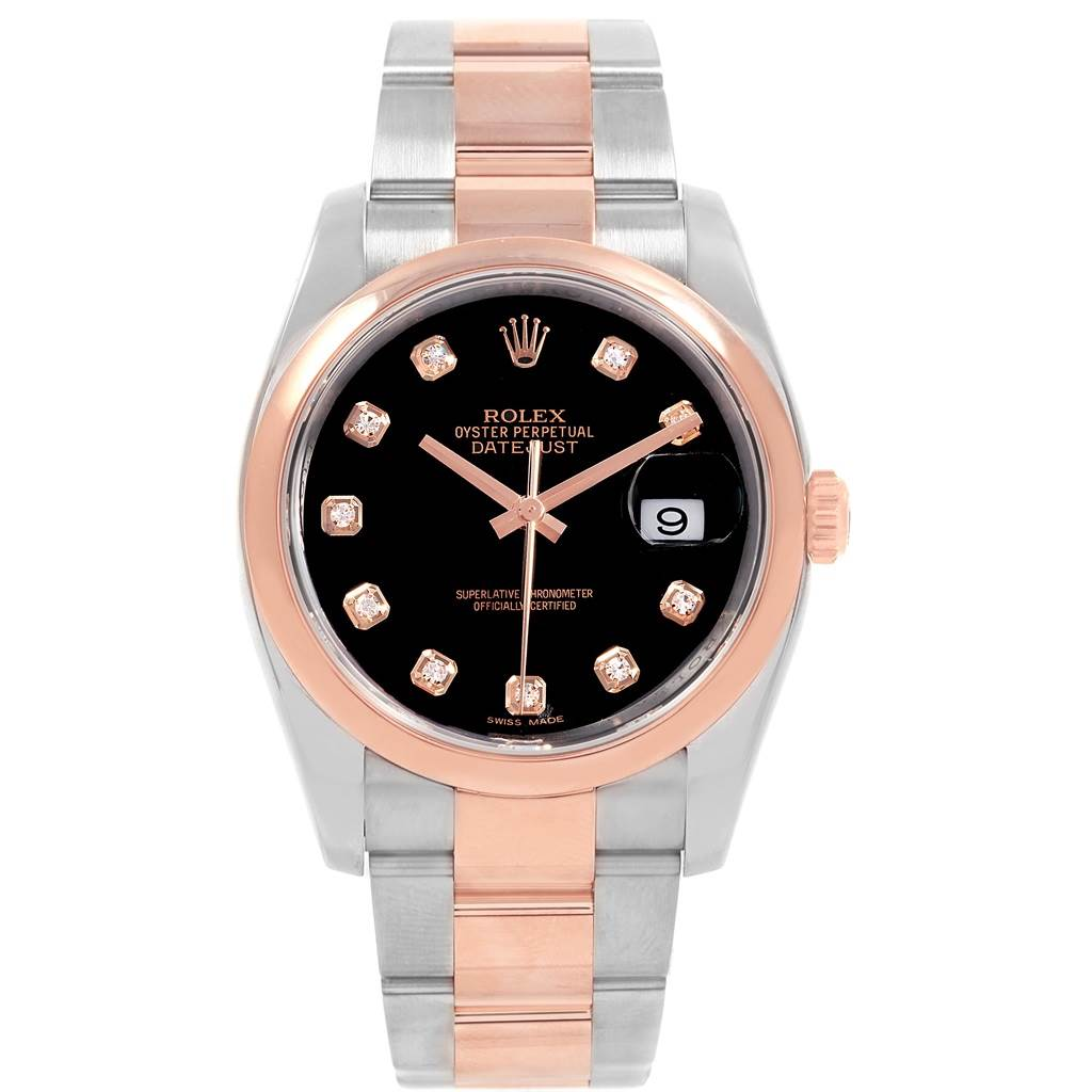 Rolex datejust 36 steel everose gold black diamond dial watch 116201 for Rolex date just 36