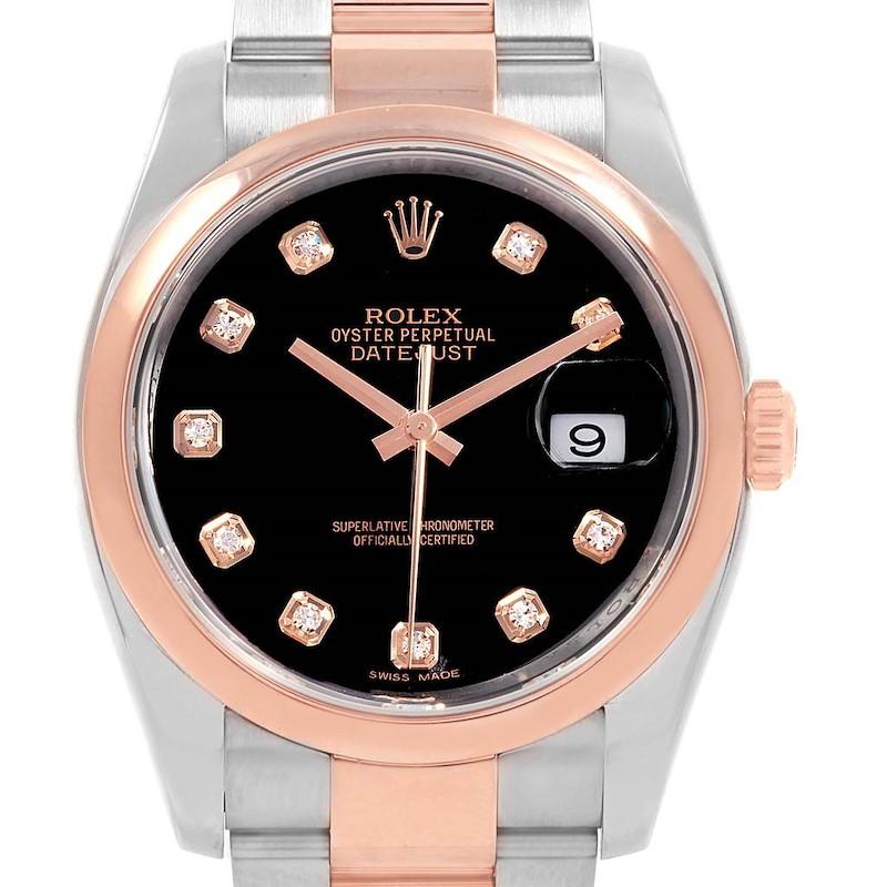 Rolex Datejust 36 Steel EveRose Gold Black Diamond Dial Watch 116201 SwissWatchExpo