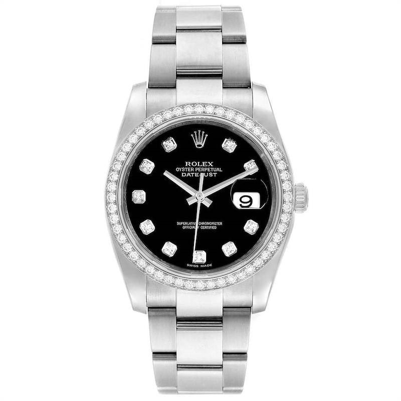 Rolex Datejust 36 Black Diamond Dial Bezel Unisex Watch 116244 Box Card SwissWatchExpo
