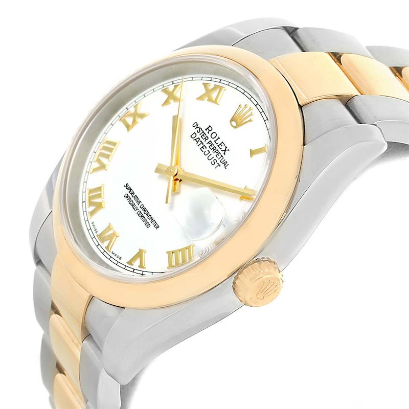 Rolex Datejust 36 Steel Yellow Gold White Dial Mens Watch 116203 Box Papers ONE LINK ADDED SwissWatchExpo