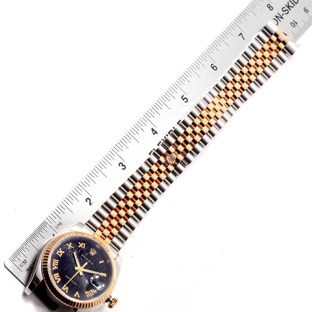 19589 Rolex Datejust Steel 18K Yellow Gold Jubilee Roman Dial Watch 116233 SwissWatchExpo