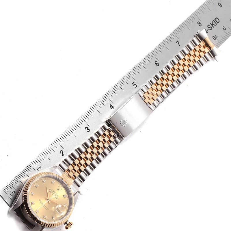 Rolex Datejust 36 Steel Yellow Gold Diamond Dial Watch 16233 Box SwissWatchExpo