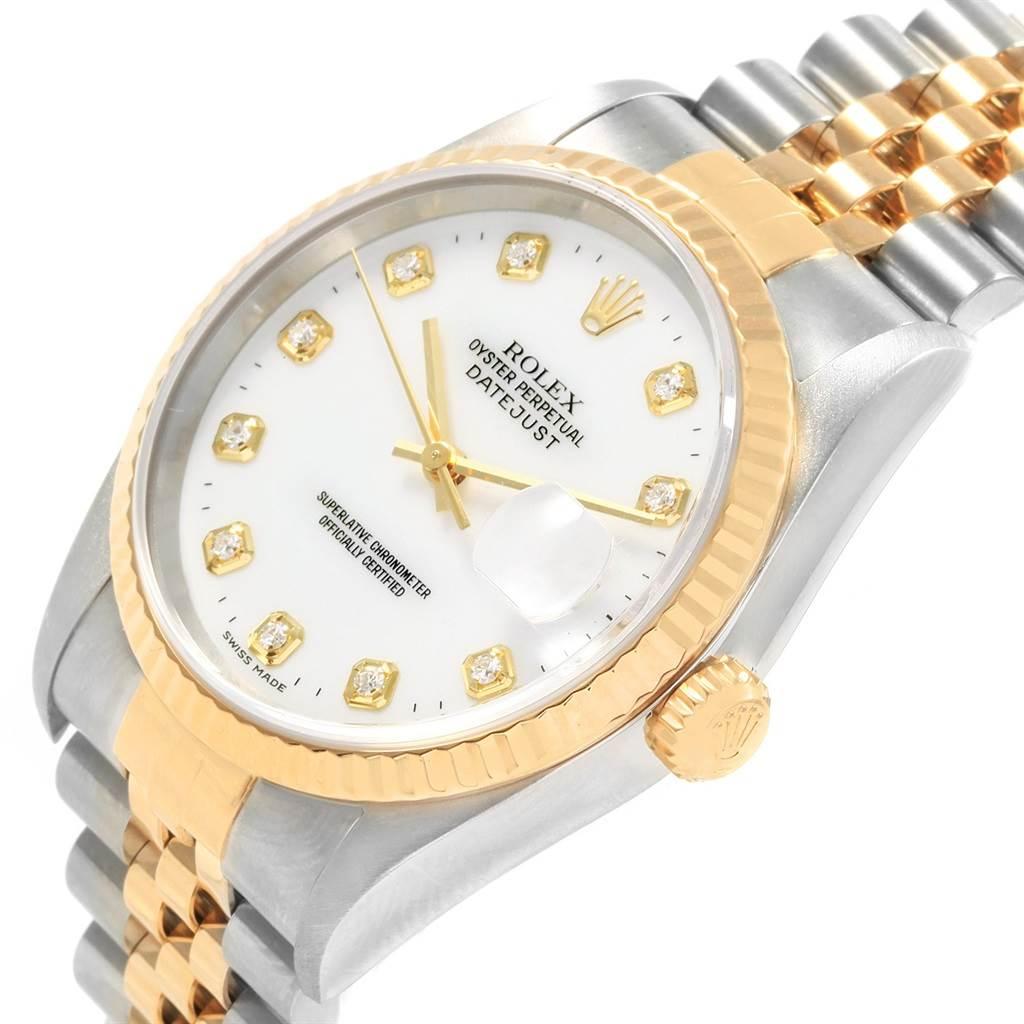 Rolex Datejust 36 Steel Yellow Gold Diamond Dial Watch 16233 Box papers SwissWatchExpo