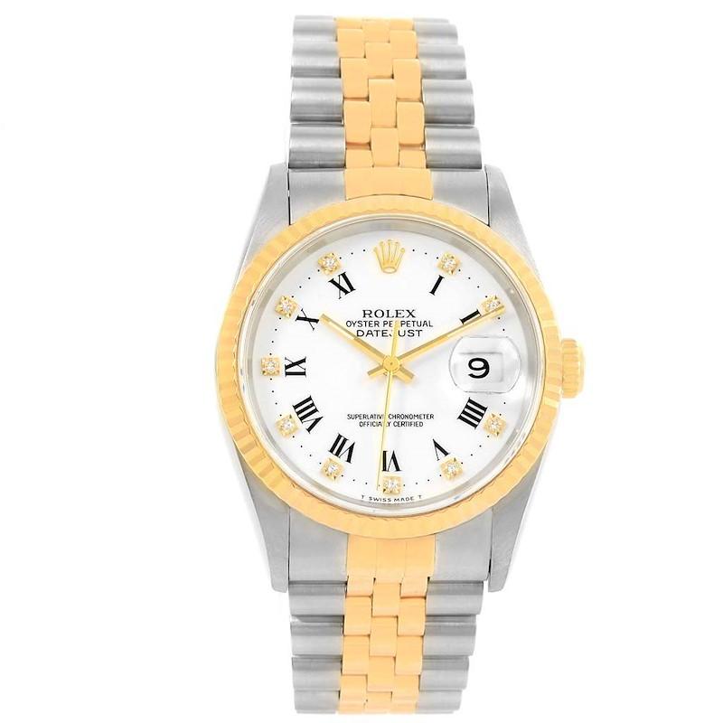 Rolex Datejust Steel Yellow Gold White Diamond Dial Mens Watch 16233 SwissWatchExpo
