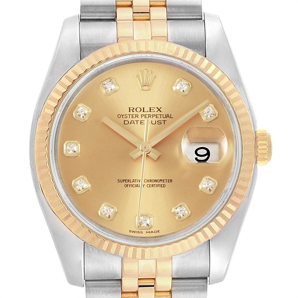 19947 Rolex Datejust 36mm Steel Yellow Gold Diamond Mens Watch 116233 SwissWatchExpo