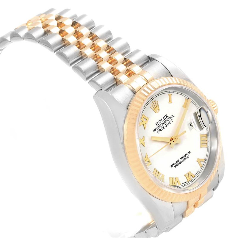 Rolex Datejust Steel Yellow Gold White Dial Mens Watch 116233 Box Papers SwissWatchExpo