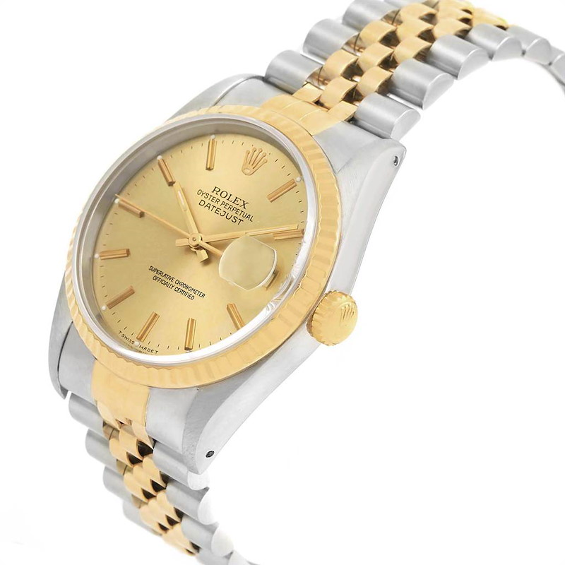 Rolex Datejust 36 Steel 18K Yellow Gold Mens Watch 16233 Box Papers SwissWatchExpo