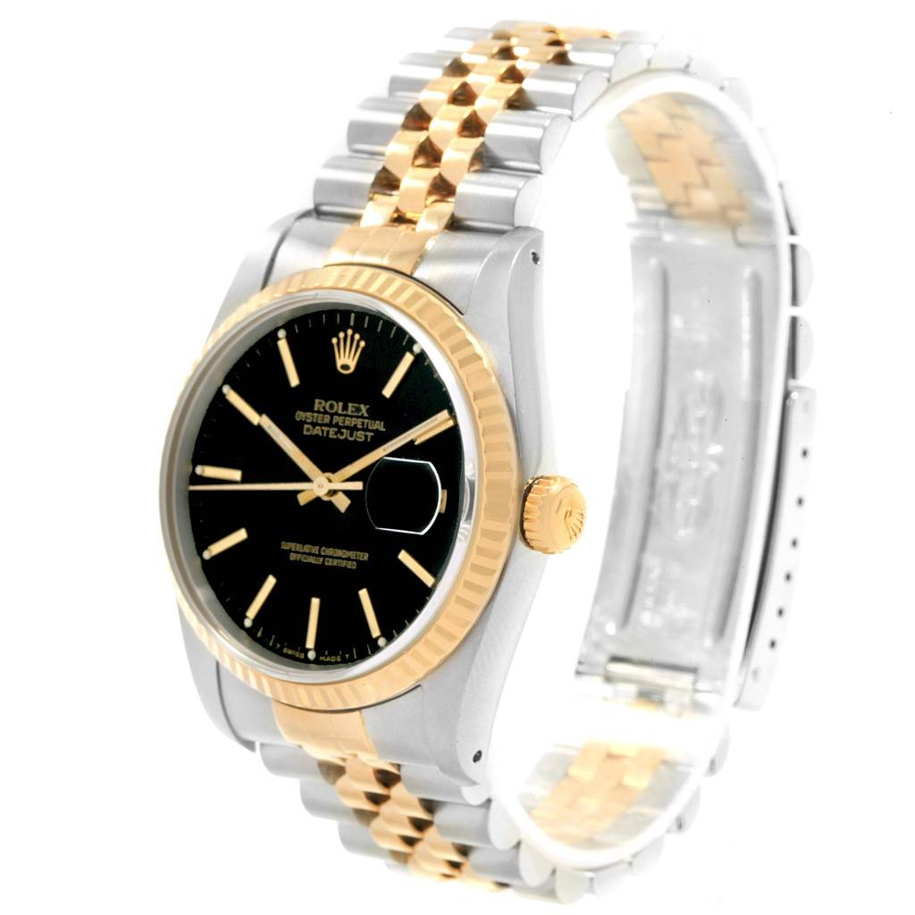 Rolex Datejust 36 Steel Yellow Gold Black Tapestry Dial Mens Watch 16233 SwissWatchExpo
