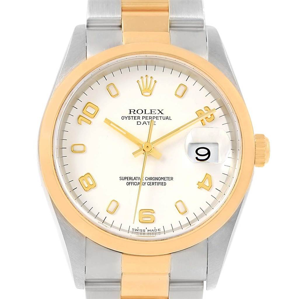 Rolex Date Steel Yellow Gold White Dial Mens Watch 15203 Box Papers SwissWatchExpo