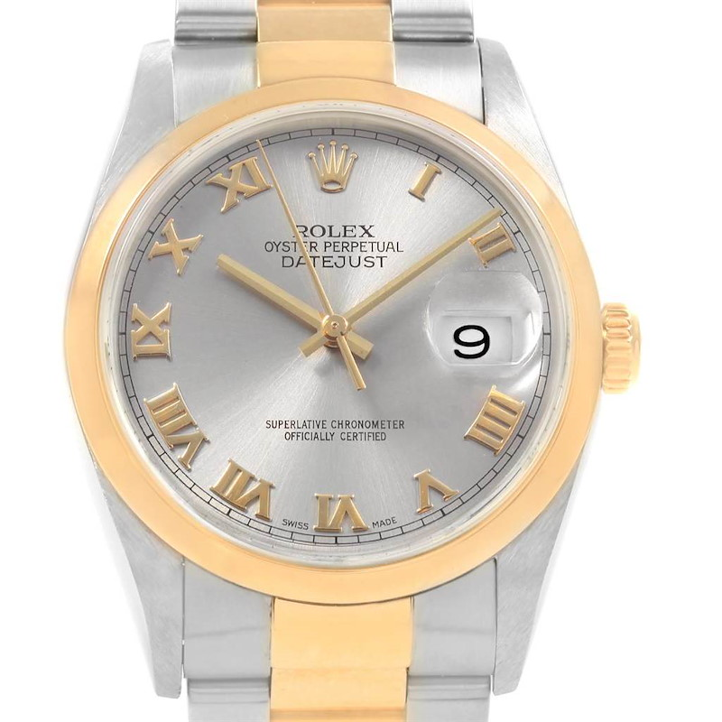 Rolex Datejust 36 Steel Yellow Gold Slate Roman Dial Mens Watch 16203 SwissWatchExpo
