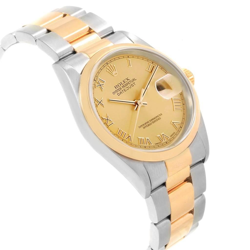 Rolex Datejust 36 Steel Yellow Gold Roman Dial Mens Watch 16203 SwissWatchExpo