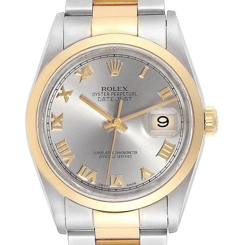 Rolex Datejust Steel Yellow Gold Slate Dial Mens Watch 16203 Box Papers SwissWatchExpo