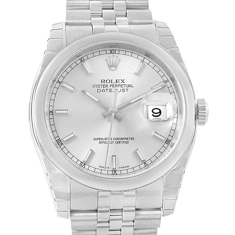 Rolex Datejust 36 Silver Baton Dial Steel Mens Watch 116200 Unworn SwissWatchExpo