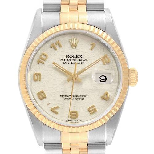 Photo of Rolex Datejust Stainless Steel Yellow Gold Mens Watch 16233 Box