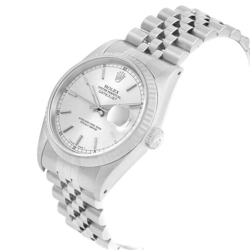 Rolex Datejust 36 Steel White Gold Silver Dial Mens Watch 16234 SwissWatchExpo