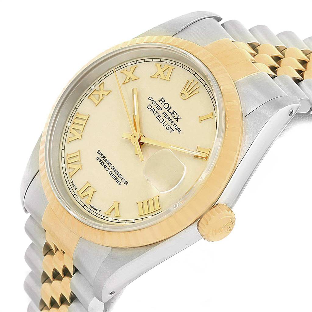 Rolex Datejust Stainless Steel Yellow Gold Mens Watch 16233 Box SwissWatchExpo