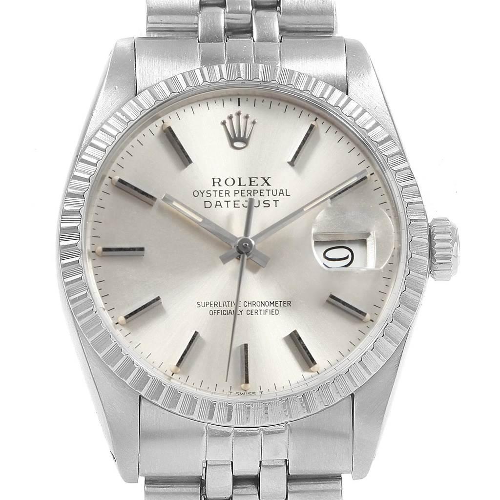 27da7ea8521cb ... 20149 Rolex Datejust Vintage Silver Dial Steel Mens Watch 16030  SwissWatchExpo ...