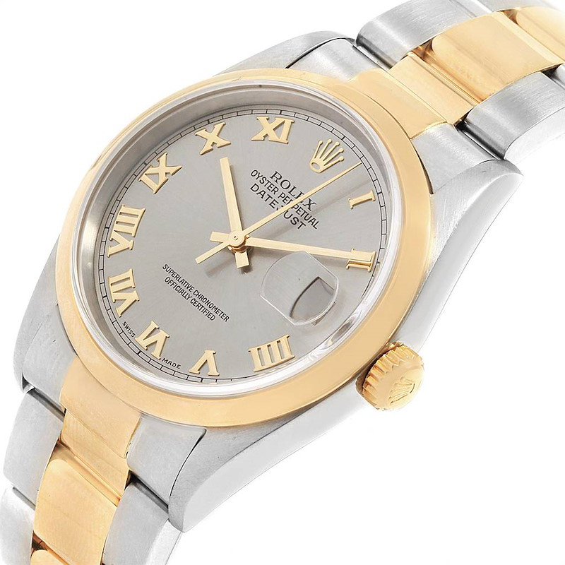 Rolex Datejust 36 Steel Yellow Gold Slate Roman Dial Mens Watch 16203 SwissWatchExpo