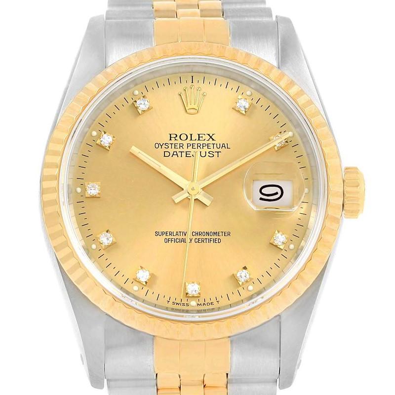 Rolex Datejust 36 Steel Yellow Gold Diamond Dial Mens Watch 16233 Box Papers SwissWatchExpo