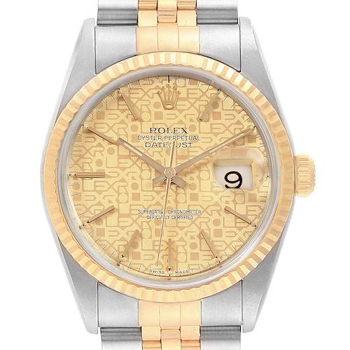 Photo of Rolex Datejust 36 Yellow Gold Steel Anniversary Dial Mens Watch 16233
