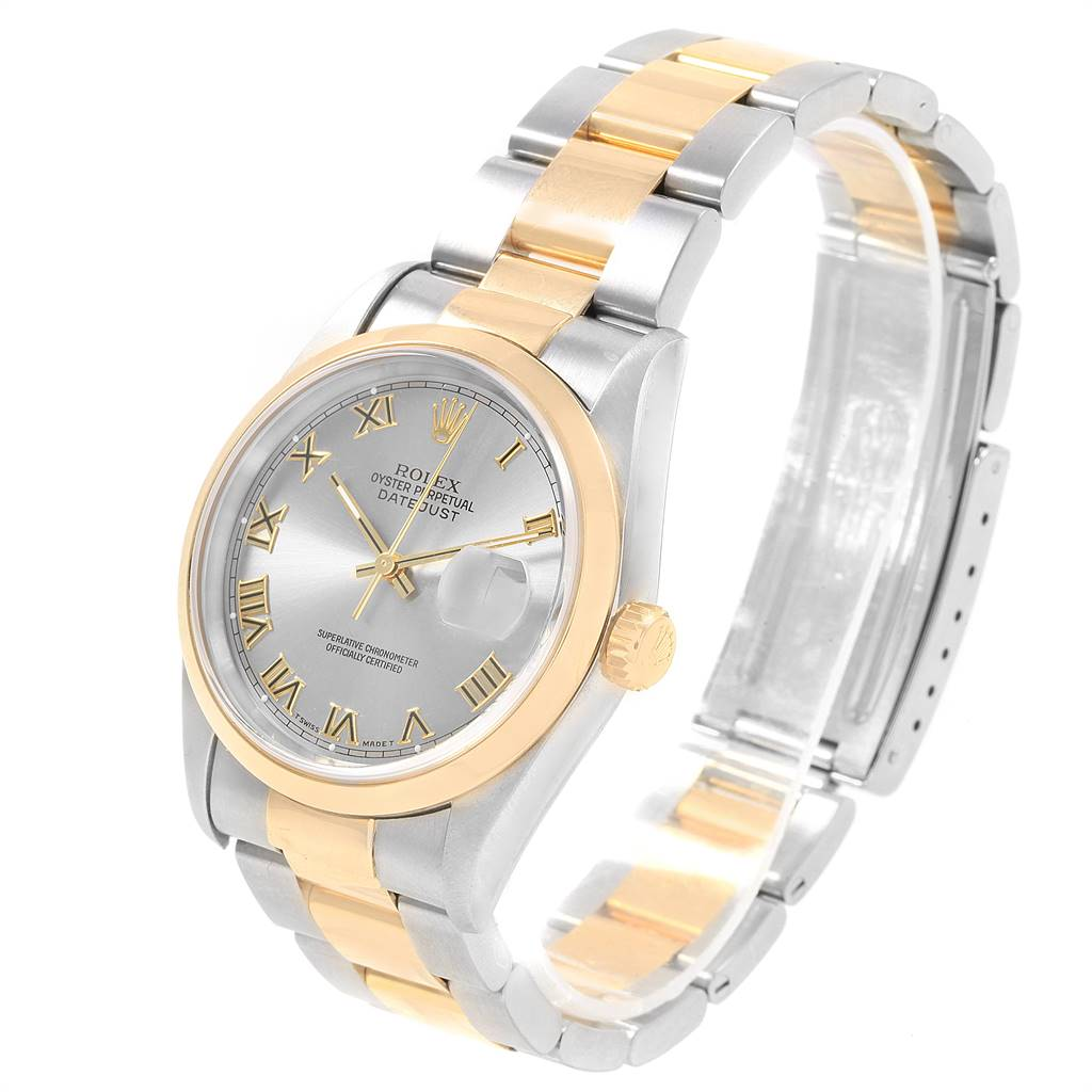 20076 Rolex Datejust Steel Yellow Gold Slate Dial Mens Watch 16203 Box Papers SwissWatchExpo