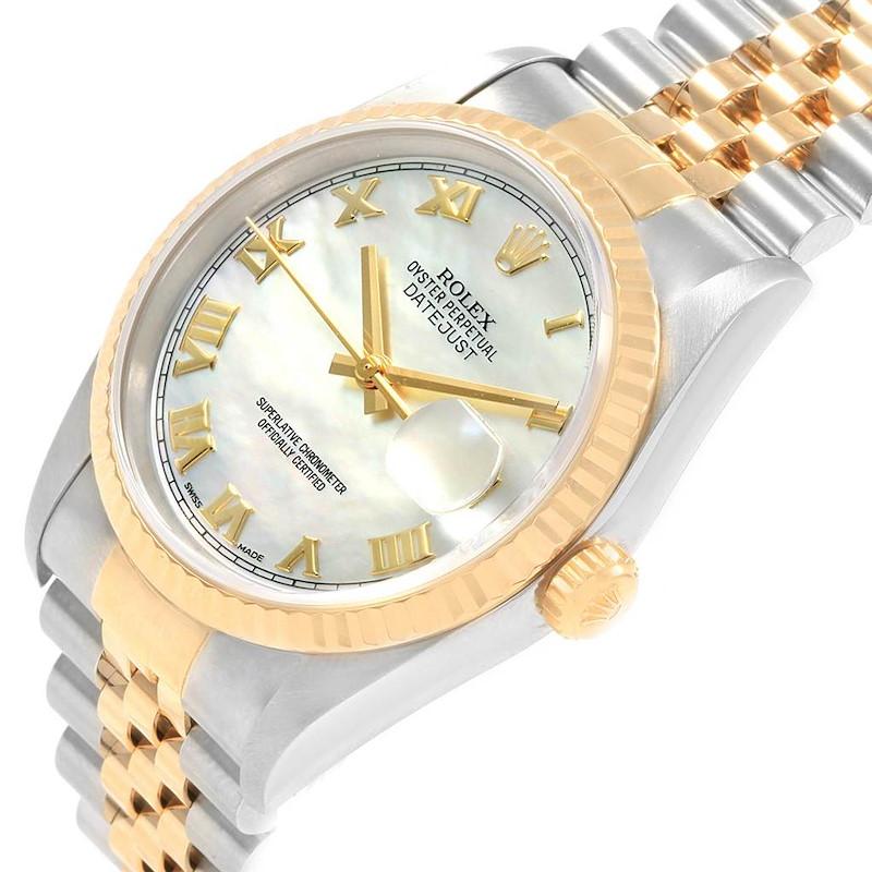 Rolex Datejust Steel Yellow Gold MOP Roman Dial Mens Watch 16233 SwissWatchExpo