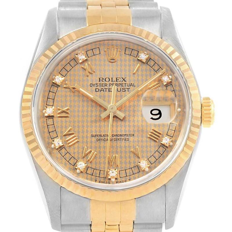 Rolex Datejust Steel Yellow Gold HoundsTooth Diamond Mens Watch 16233 SwissWatchExpo