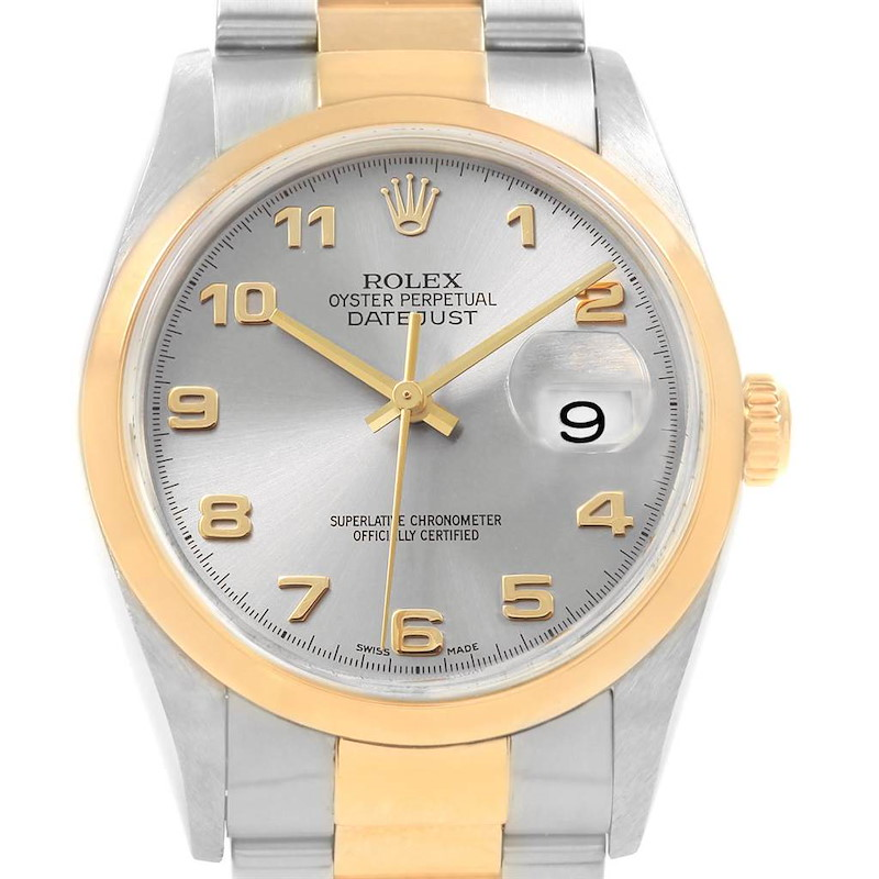 Rolex Datejust 36 Steel Yellow Gold Slate Arabic Dial Mens Watch 16203 SwissWatchExpo