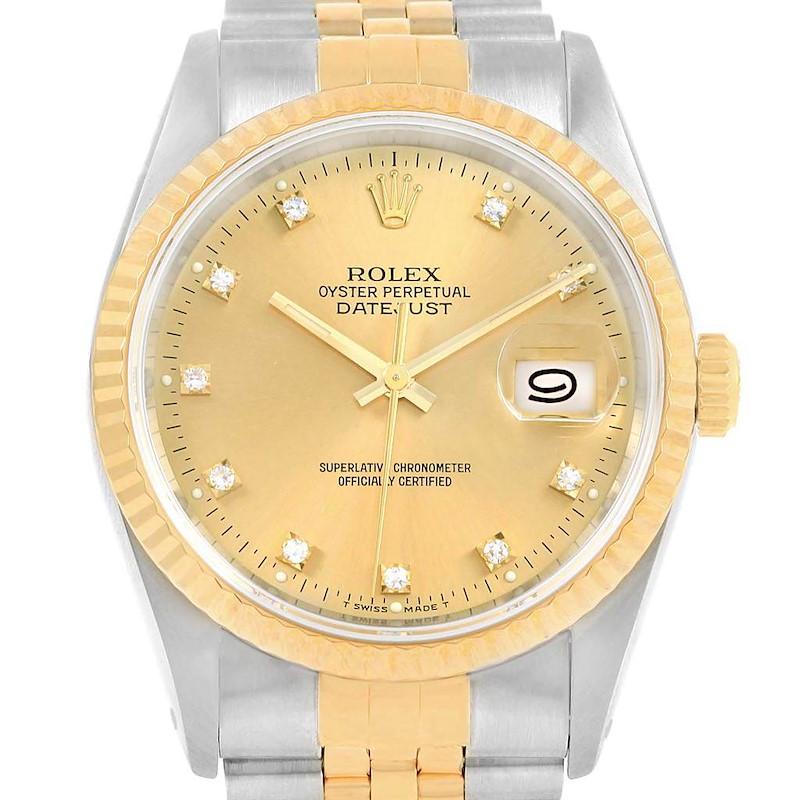 Rolex Datejust 36 Steel 18K Yellow Gold Diamond Mens Watch 16233 Box SwissWatchExpo