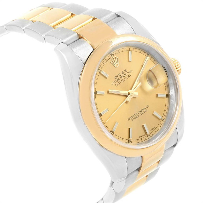 Rolex Datejust 36 Steel 18K Yellow Gold Oyster Bracelet Watch 116203 SwissWatchExpo