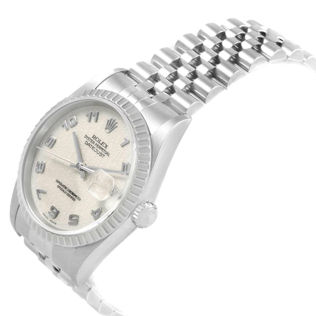 20592 Rolex DateJust 36 Silver Jubilee Arabic Dial Steel Mens Watch 16220 SwissWatchExpo