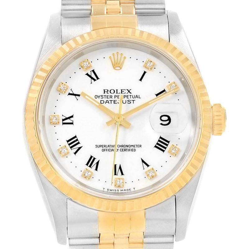 Rolex Datejust Steel Yellow Gold Roman Diamond Dial Mens Watch 16233 SwissWatchExpo