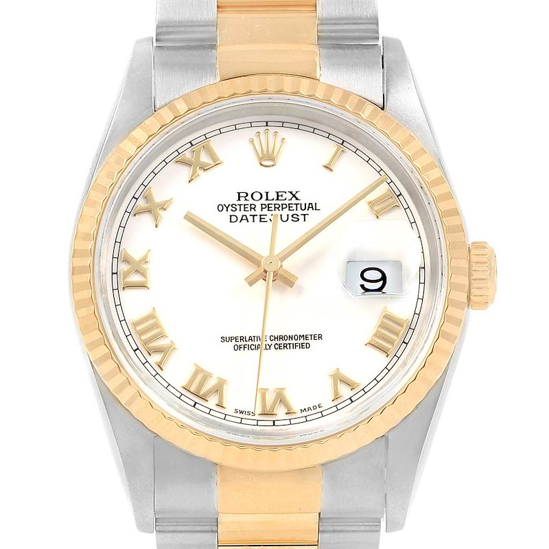 Rolex Datejust Steel Yellow Gold Oyster Bracelet Mens Watch 16233 SwissWatchExpo
