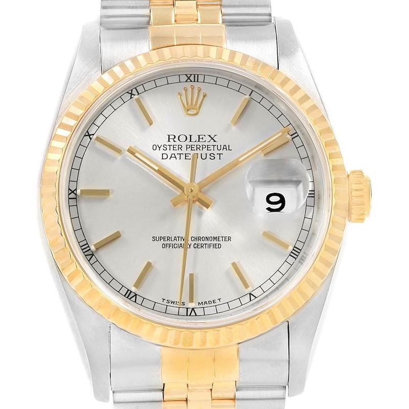 Rolex Datejust Steel Yellow Gold Mens Watch 16233 Box Papers SwissWatchExpo