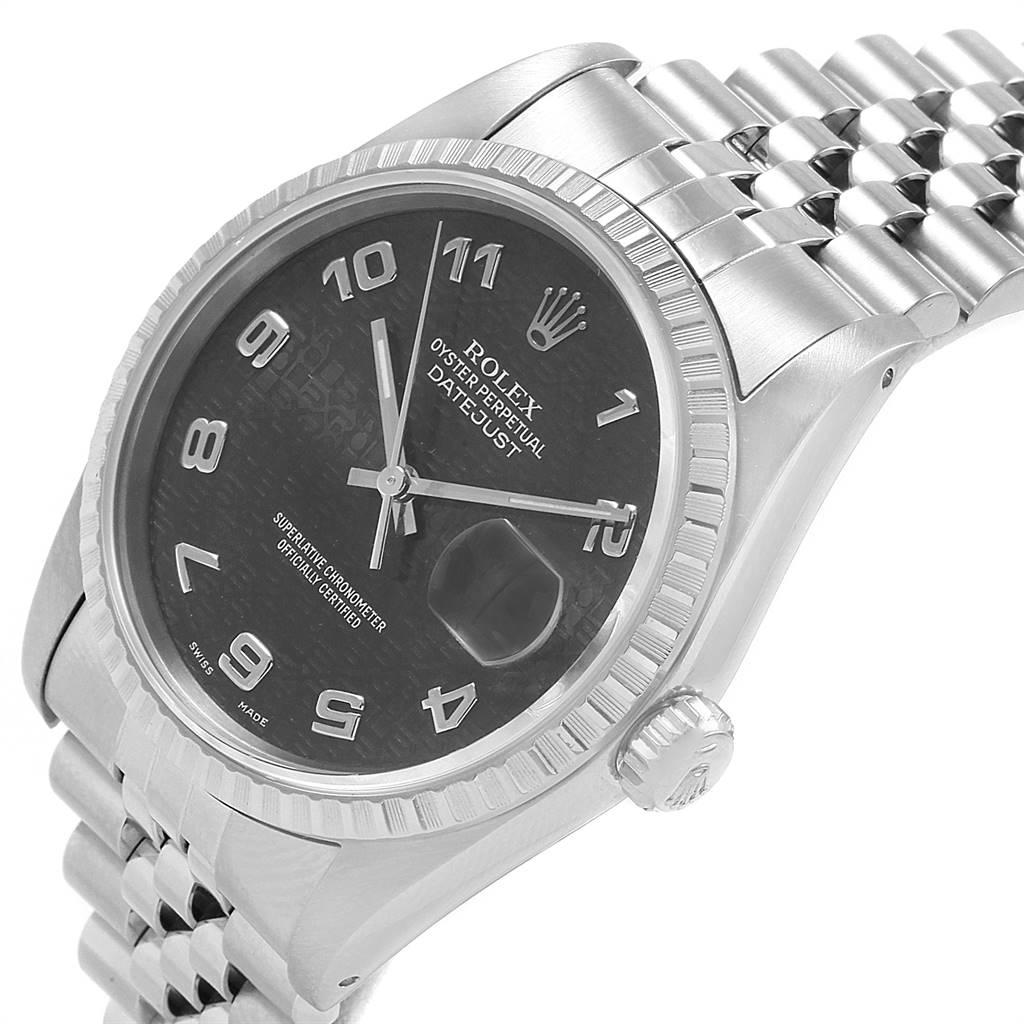 20544 Rolex Datejust 36 Grey Anniversary Dial Steel Mens Watch 16220 SwissWatchExpo