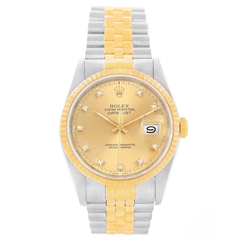 Rolex Datejust 36 Steel Yellow Gold Diamond Dial Mens Watch 16013 SwissWatchExpo