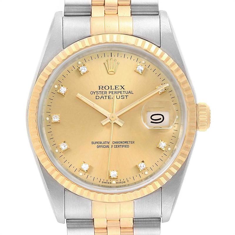 Rolex Datejust Steel Yellow Gold Diamond Hour Markers Mens Watch 16233 SwissWatchExpo