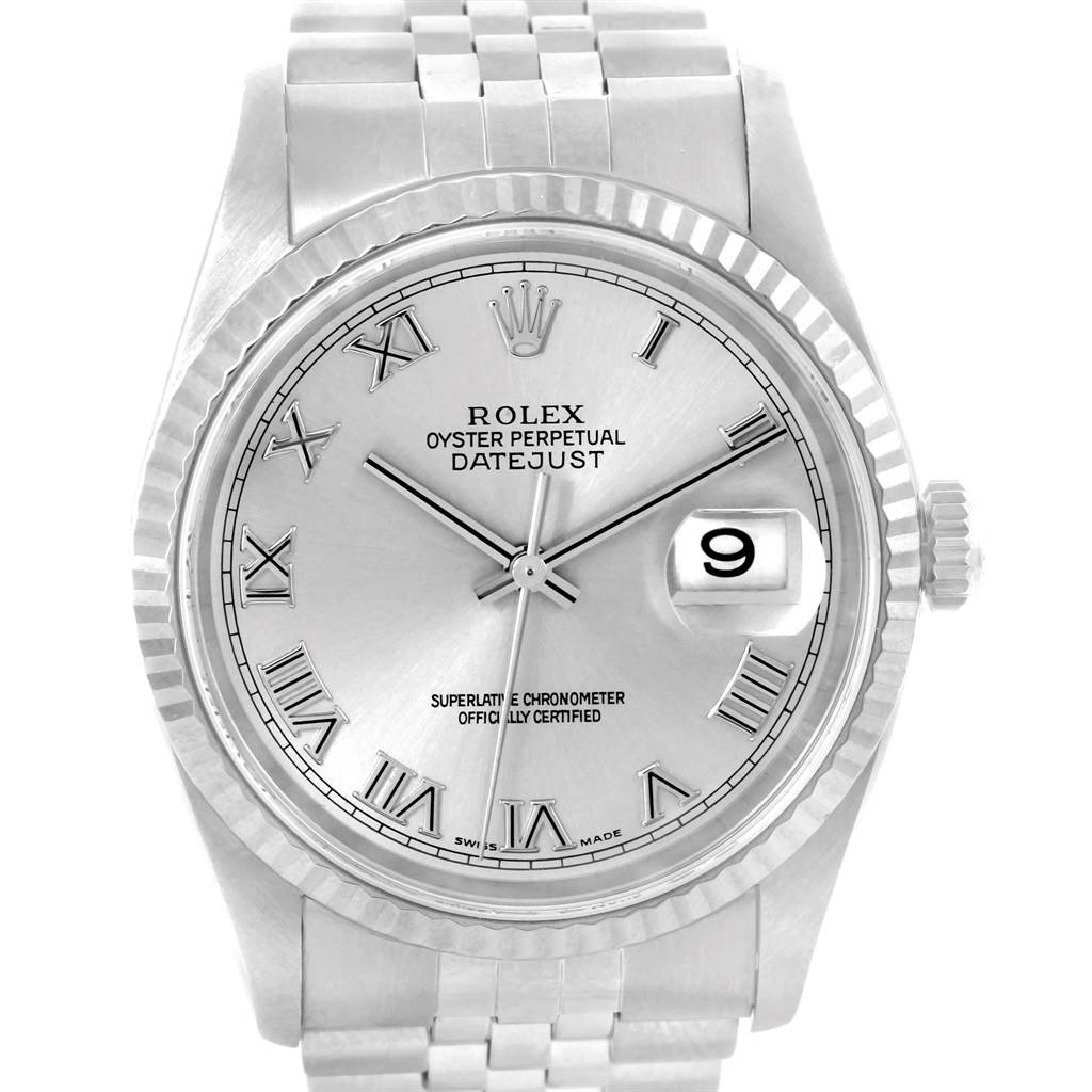 20685 Rolex Datejust 36 Steel White Gold Silver Dial Mens Watch 16234 SwissWatchExpo