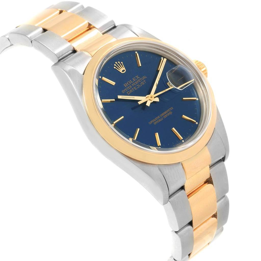 20416A Rolex Datejust 36 Steel Yellow Gold Blue Dial Mens Watch 16203 SwissWatchExpo