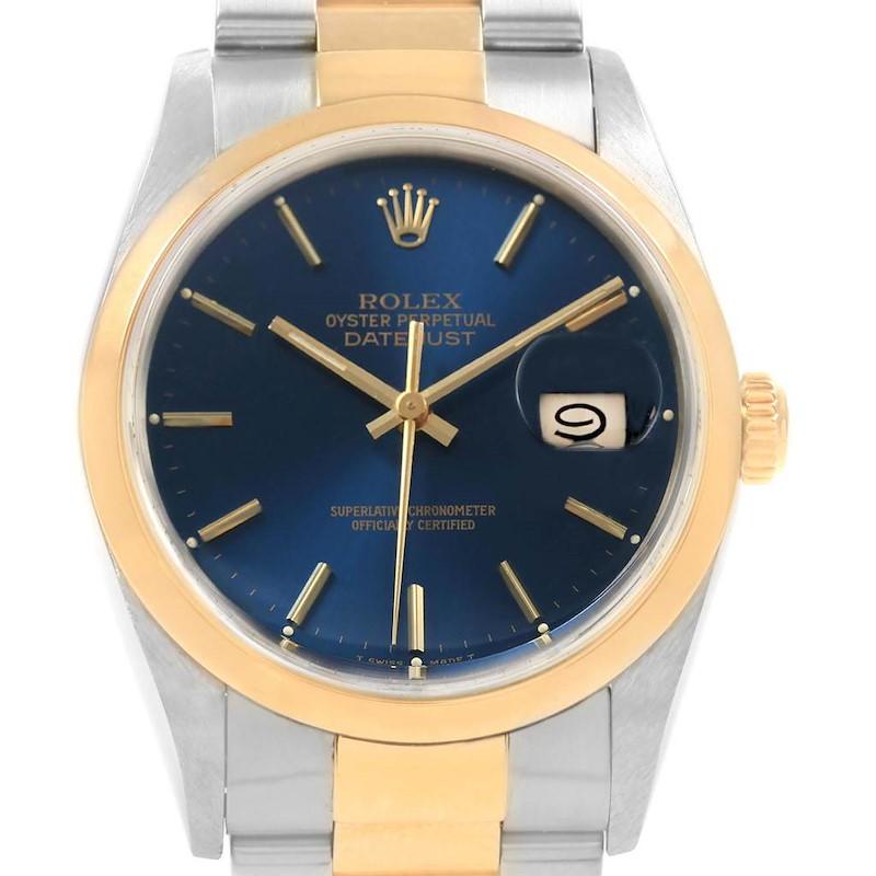 Rolex Datejust 36 Steel Yellow Gold Blue Dial Mens Watch 16203 SwissWatchExpo