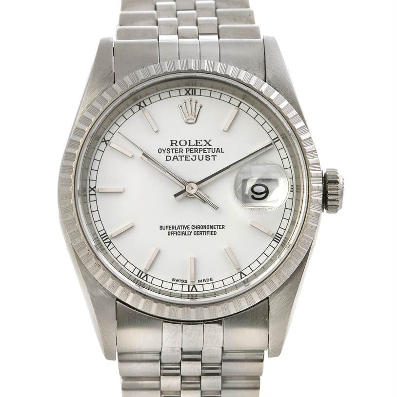 2440 Rolex Datejust Mens Ss White Stick Dial Watch 16220 SwissWatchExpo