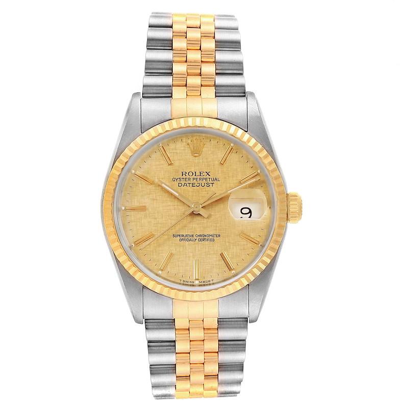 Rolex Datejust 36 Steel Yellow Gold Linen Dial Mens Watch 16233 SwissWatchExpo