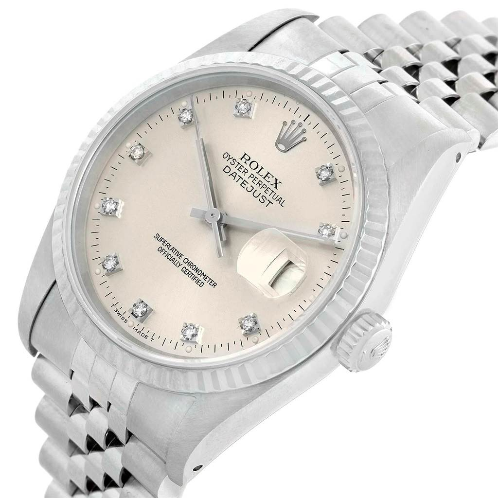 20795 Rolex Datejust Steel White Gold Silver Diamond Dial Mens Watch 16234 SwissWatchExpo