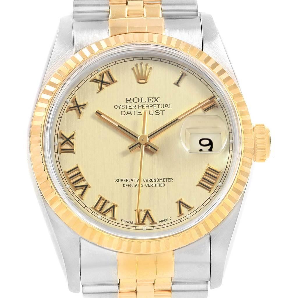 20789 Rolex Datejust 36 Steel Yellow Gold Roman Dial Mens Watch 16233 SwissWatchExpo