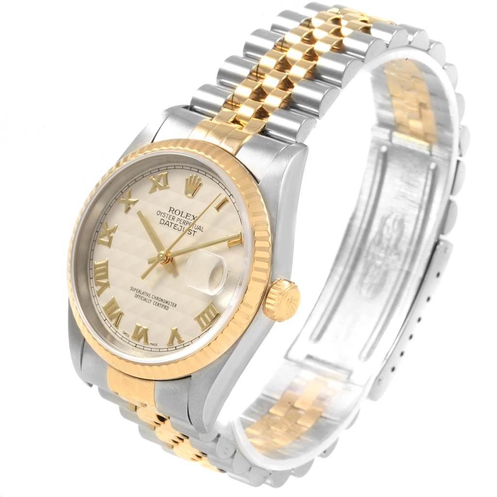 20787 Rolex Datejust Steel Yellow Gold Ivory Pyramid Dial Mens Watch 16233 SwissWatchExpo